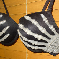 Skeleton Hands Bra.  Glow  in the dark.