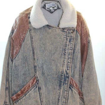 Vintage 80s Denim and Leather Jacket, 1980s Vintage Fashion, Acid Wash Jean Jacket, Size Large Coat, Yearbook made in Korea