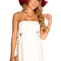White Crochet Strapless Summer Cute Casual Sexy Dress