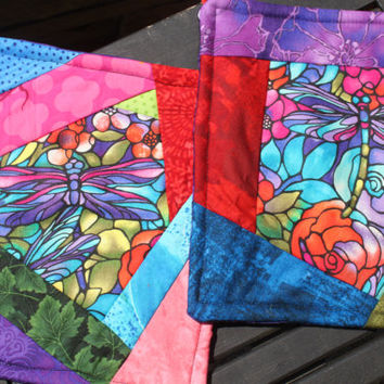 Dragonfly Stained Glass Potholder Set 2 for 8
