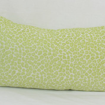 "Green cheetah print chenille jacquard decorative pillow cover. 14"" x 26"" lumbar size."