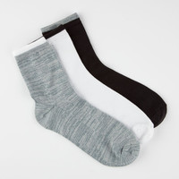 Full Tilt 3 Pairs Super Soft Womens Low Crew Socks Black/White One Size For Women 26038912501
