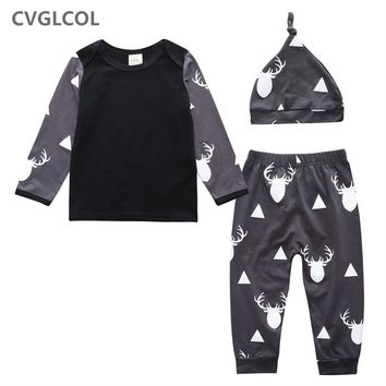 CVGLCOL Drop Shipping Newborn Baby Long sleeve Clothes, Hot Sale Baby Boy Clothing set, Kids T-shirt+Pant+Hat Three Pieces Suits