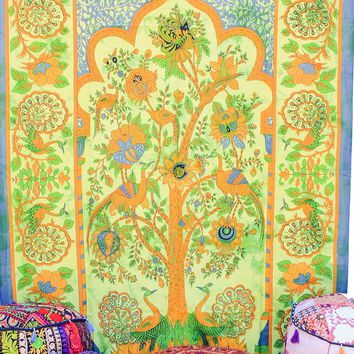Hand printed Tree of Life Tapestries Wall Hanging or Bedsheet Greens/Yellows