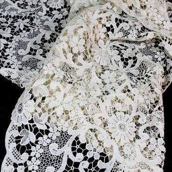 Cream Lace Table Runner / Dresser Scarf, Set of Two, Chemical / Schiffli Lace, Large Lace Doily, Shabby Chic, 1900s 1910s, Antique Lace