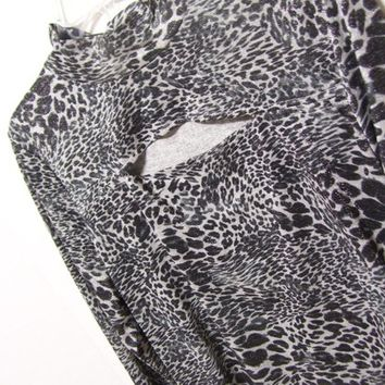 Peek a Boo Top, Black Silver, Metallic Thread, Cheetah, Jungle  Print, Knit,  Size XXL, Junior, Lei, Dressy Casual,  Resort Cruise Wear