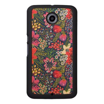 Vintage Bright Floral Pattern Fabric Wood Phone Case
