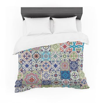 """Susan Sanders """"Eclectic Boho Colorful Tile"""" Blue Teal Photography Featherweight Duvet Cover"""