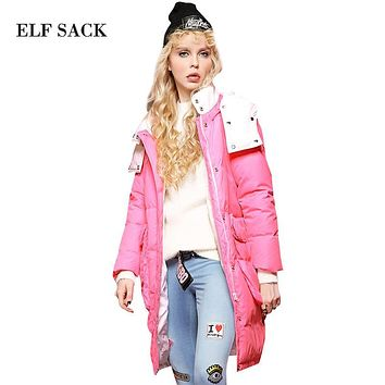 Elf SACK z winter female loose vent thickening with a hood down coat female long design