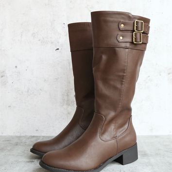 double buckle tall classic boot in brown