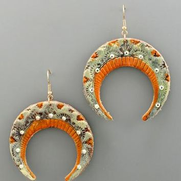 Crescent TwoTone Leather Earring