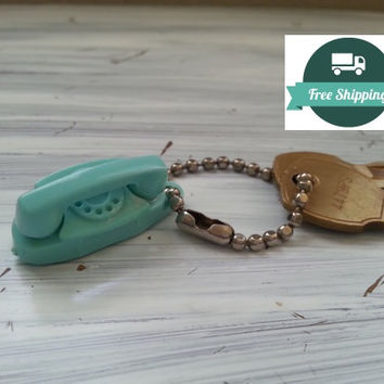 The Princess Phone Aqua Keychain, Miniature Oldfashioned Phone, Telephone Key Fob, Free US Shipping