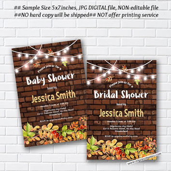 Rustic Bridal Shower OR Baby Shower , Bridal, baby invitation,  Brick background, Autumn  wedding newbaby Invitation - card 1015