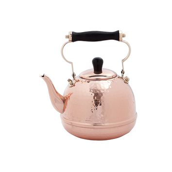 Solid Copper Hammered Tea Kettle w/ Wood Handle by Old Dutch International