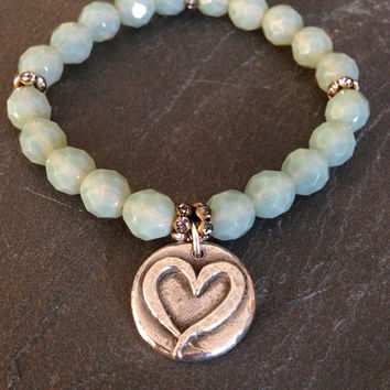 Beaded Heart Bracelet/Opal Blue/Love/Pure Silver