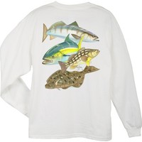 Guy Harvey Pacific Collage Men's Back-Print Long Sleeve Tee in White