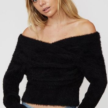 Off the Shoulder Fuzzy Sweater - Black