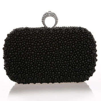 Black Clutch with crystal and pearls,hand beaded ivory satin with pearls pearl evening bag,prom bag