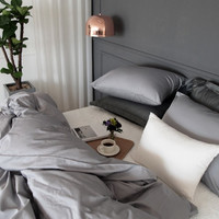 Gray Colored Premium Cotton Sateen Hotel Twin / Queen / King Size Bedding Set