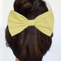 Yellow Hair Bow Clip Women's Hair Accessories Retro hair clip Rockabilly hair clip cute hair clips Big Hair Bow Large hair bow Girly Bows