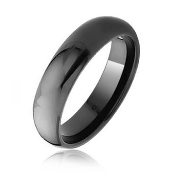 Plain Simple Dome Black Couples Wedding Band Tungsten Rings 6mm