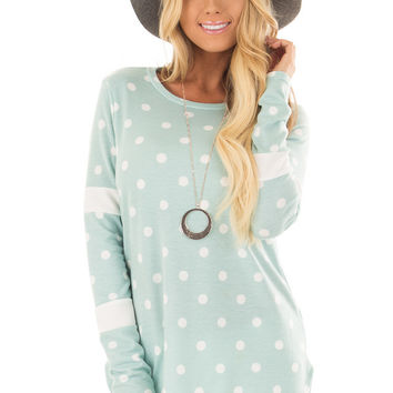 Light Mint Polka Dot Top with Textured Contrast