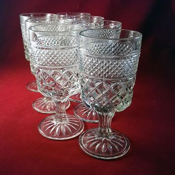 Anchor Hocking Wexford Waffle Pattern Goblets  S/7