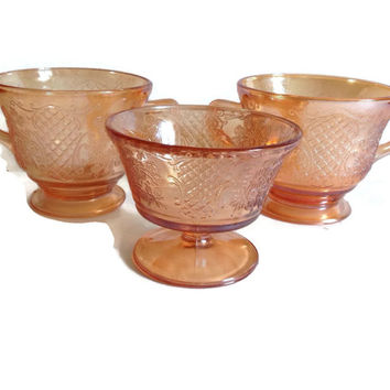 Vintage Depression Glass-Normandie-Federal Glass-2 Sugar Bowls-1 Sherbet Dish-Amber, Bouquet and Lattice-Iridescen-Home Decor-Kitchen-1930's