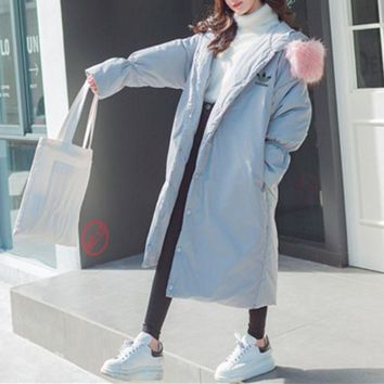 LMFON Adidas' Women Loose Fashion Hooded Fur Collar Long Sleeve Long Section Cardigan Cotton-padded Clothes Thickened Bread Service Coat