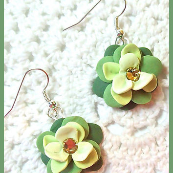 Flower Petal Earrings Polymer Clay Flower Blossoms Swarovski Crystals Dangle Earrings Handcrafted 3 shades of green