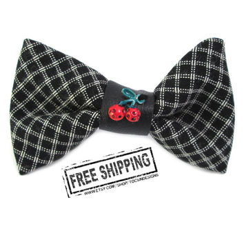 Rockabilly hair accessories - Rockabilly bow - cherry bow - psychobilly hair clip - kawaii bow sweet lolita gingham bow - retro pinup hair