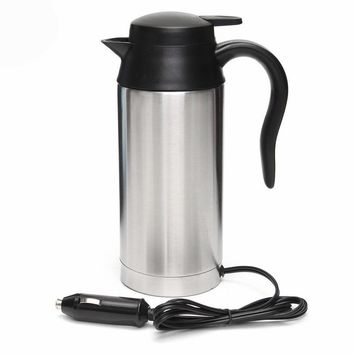 Stainless Steel Coffee Electric Kettle Travel Tea Heated Mug