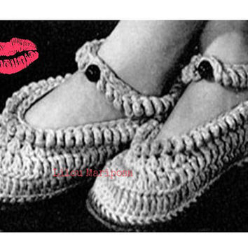 CROCHET SLIPPERS PATTERN Vintage 40s Crochet Mary Jane Slippers Pattern Crochet Yoga Shoe Pattern Crochet Bed Socks Pattern