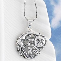 Flying Sun and Moon Necklace in Sterling Silver