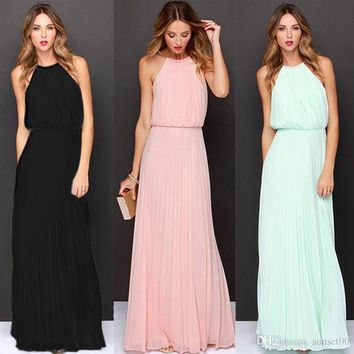 Women new chiffon sleeveless reins pleated sexy dress long dress party evening date ladies dress with diverse colors