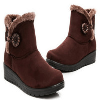 Womens Round Toe Ankle Snow Boots