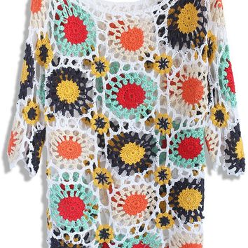 Colorful Blossoms Hand-knit Top