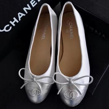 Chanel Summer Spring and Autumn Women Flats Fashion Boat Shoes Woman Casual Brand Single Shoes White+Sliver G-ALS-XZ
