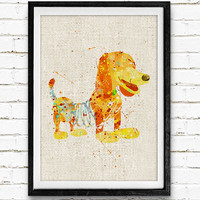Toy Story Slinky Dog, Disney Watercolor Print, Baby Nursery Room Art, Home Decor, Not Framed, Buy 2 Get 1 Free!