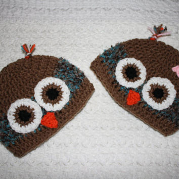 """Brown and Blue boy or girl Owl Hat NB, 0-3, 3-6 6-12 Months Baby Shower Gift, Infant, Perfect Photo Prop """"Owl always love you"""""""