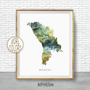 Moldova Map Art, Moldova Print, Watercolor Map, Map Painting, Map Artwork, Country Art, Office Decorations, Country Map Art Print Zone