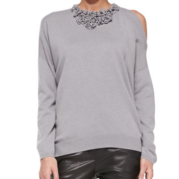 Women's Embellished Cold-Shoulder Cashmere Sweater - Brunello Cucinelli - Stone (S/40)