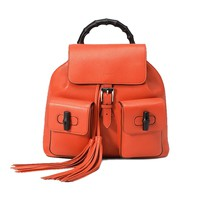 Gucci Bamboo Leather Backpack 370833 6525 (Bright Orange)