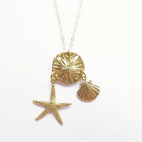 Gold Mermaid Necklace Mermaid Charm Necklace Gold Starfish Necklace Starfish Charm Necklace Sand Dollar Necklace Sand Dollar Charm Necklace