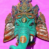 Impressive Ganesha Wall Hanging Mask / Hindu God Ganesh for health Luck Vintage