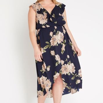 Blaire Ruffled Floral Midi Dress Plus Size