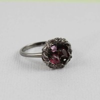 Black Rough Mixed Gemstone Bird Nest Ring