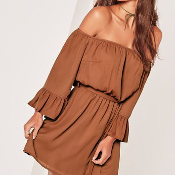 Missguided - Bardot Frill Sleeve Tie Waist Skater Dress Brown