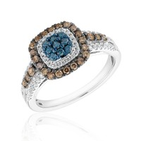 Diamond, Blue Diamond, and Brown Diamond Cushion Fashion Ring 3/4ctw