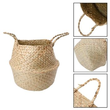 Foldable Rattan Basket Laundry Storage Hamper Woven Stand Hanging Home Storage Kit